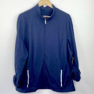 Karen Scott Sport Blue French Terry Jacket XXL
